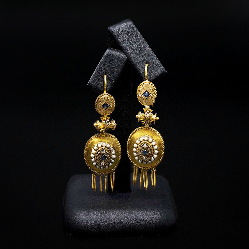 Gold Vintage Pendant Earrings, sold at Nouveau Jewellers in Manchester