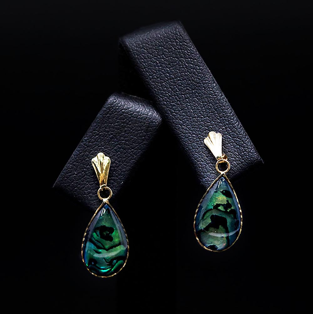 9ct Yellow Gold Abalone Tear Drop Earring Close Up, sold at Nouveau Jewellers in Manchester