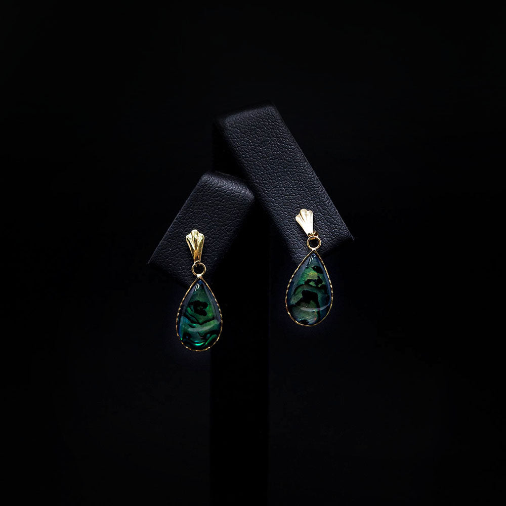9ct Yellow Gold Abalone Tear Drop Earring front, sold at Nouveau Jewellers in Manchester