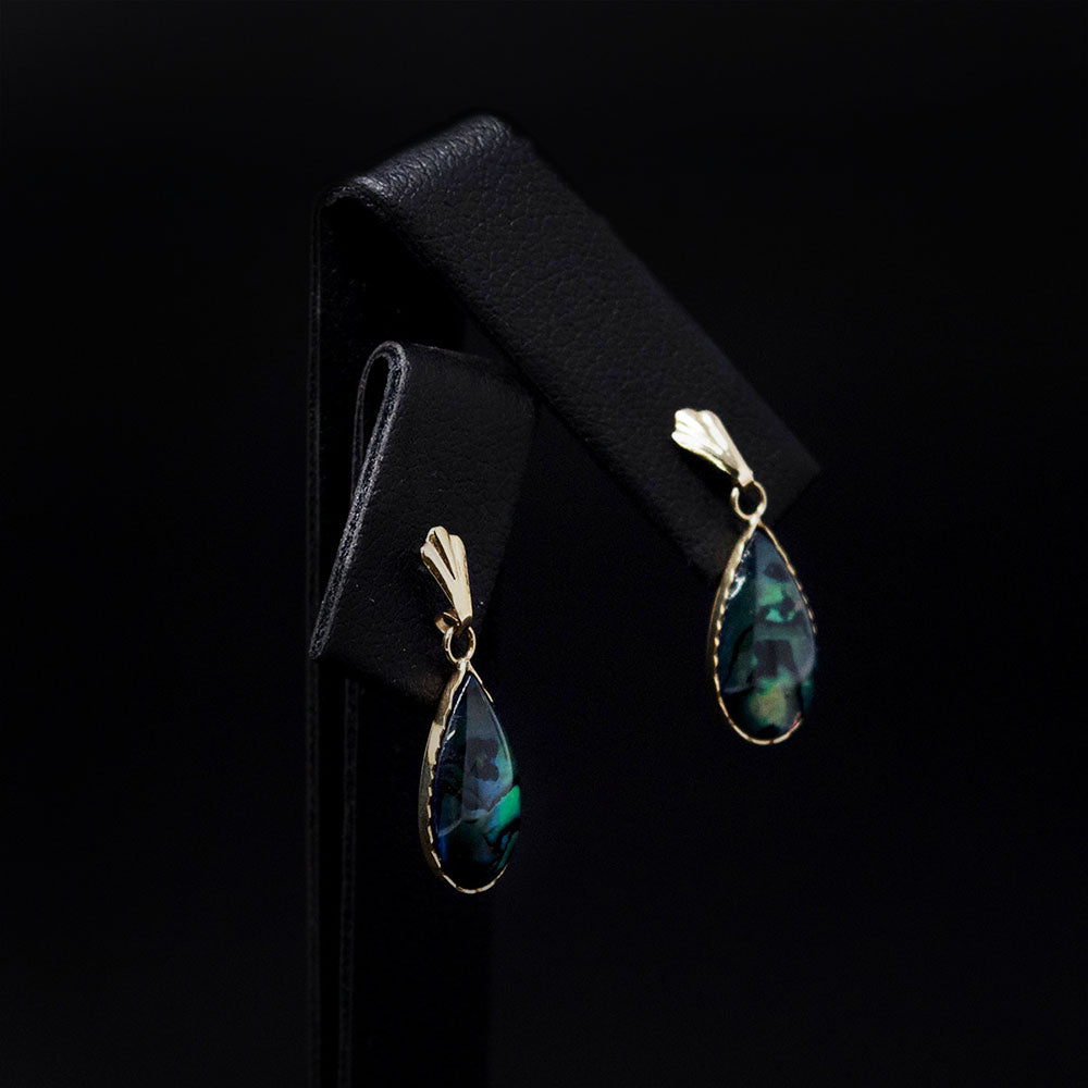 9ct Yellow Gold Abalone Tear Drop Earring, sold at Nouveau Jewellers in Manchester