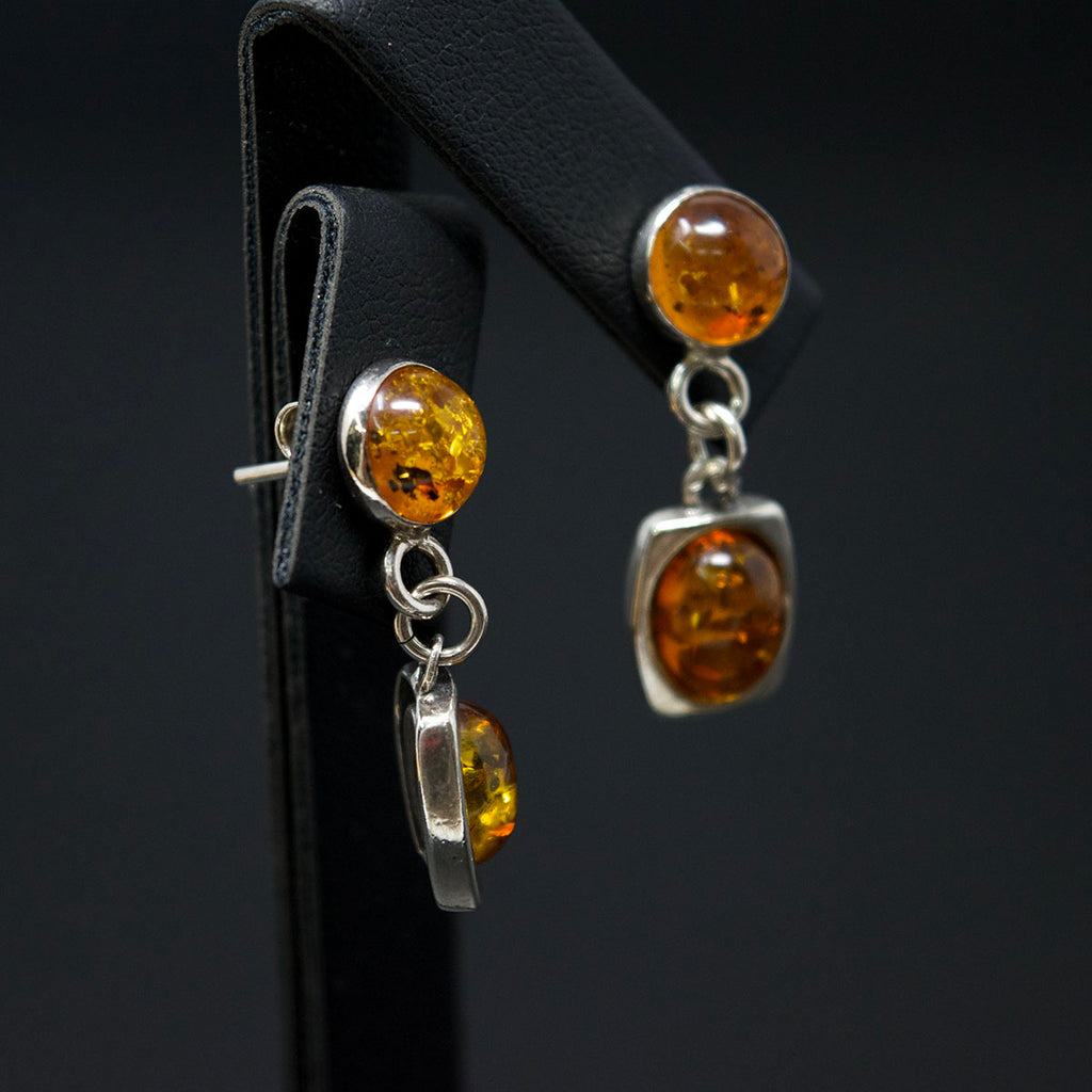 Silver Amber Pendant Earrings side angle, sold at Nouveau Jewellers in Manchester
