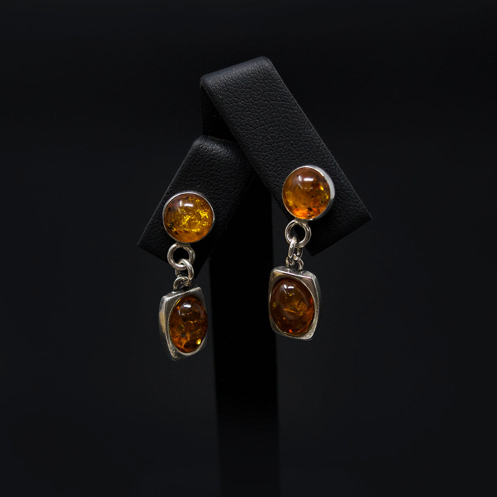 Silver Amber Pendant Earrings different angle, sold at Nouveau Jewellers in Manchester