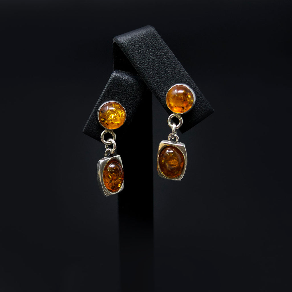 Silver Amber Pendant Earrings, sold at Nouveau Jewellers in Manchester