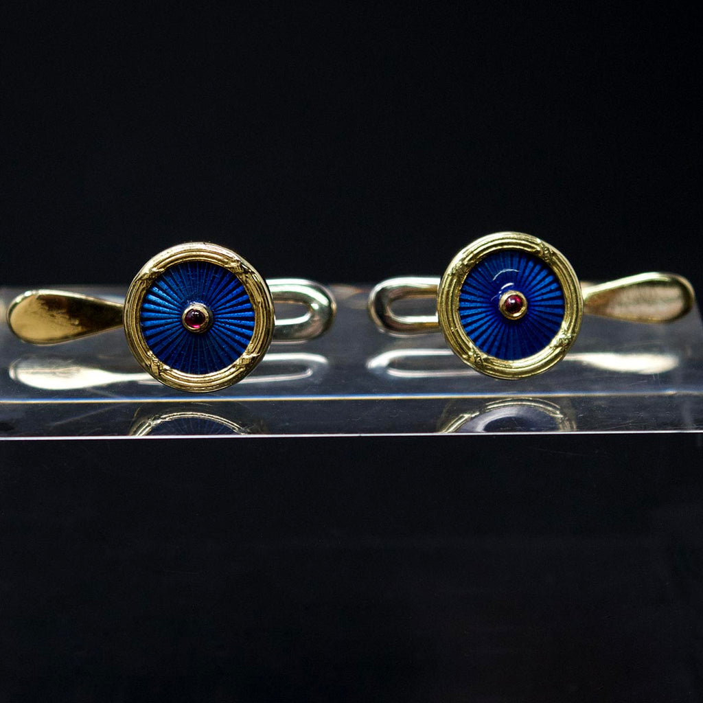 Electric Blue Enamel Cufflinks, Nouveau Jewellers, Manchester Jewellers