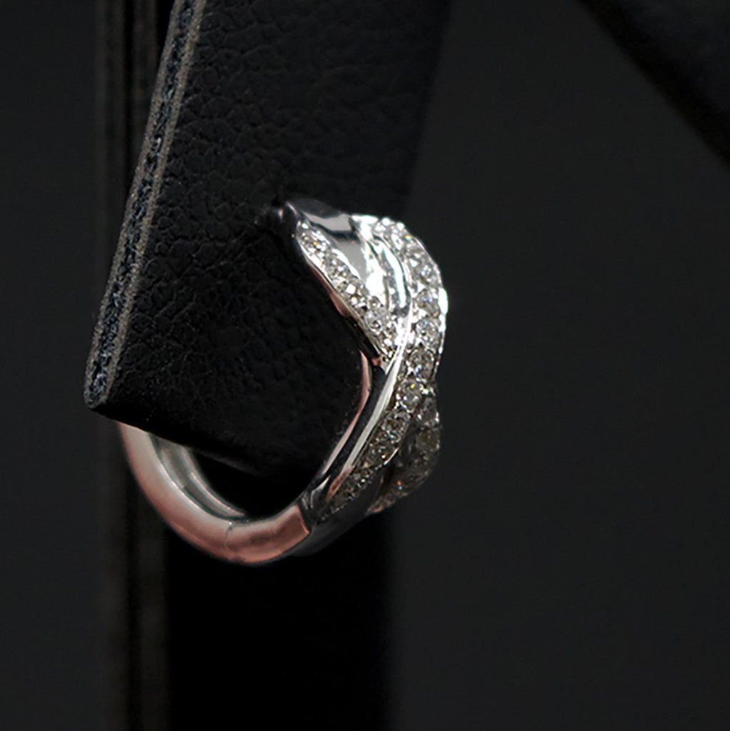 18ct White Gold Infinity Diamond Hoop Earrings Close Up of one, sold at Nouveau Jewellers in Manchester