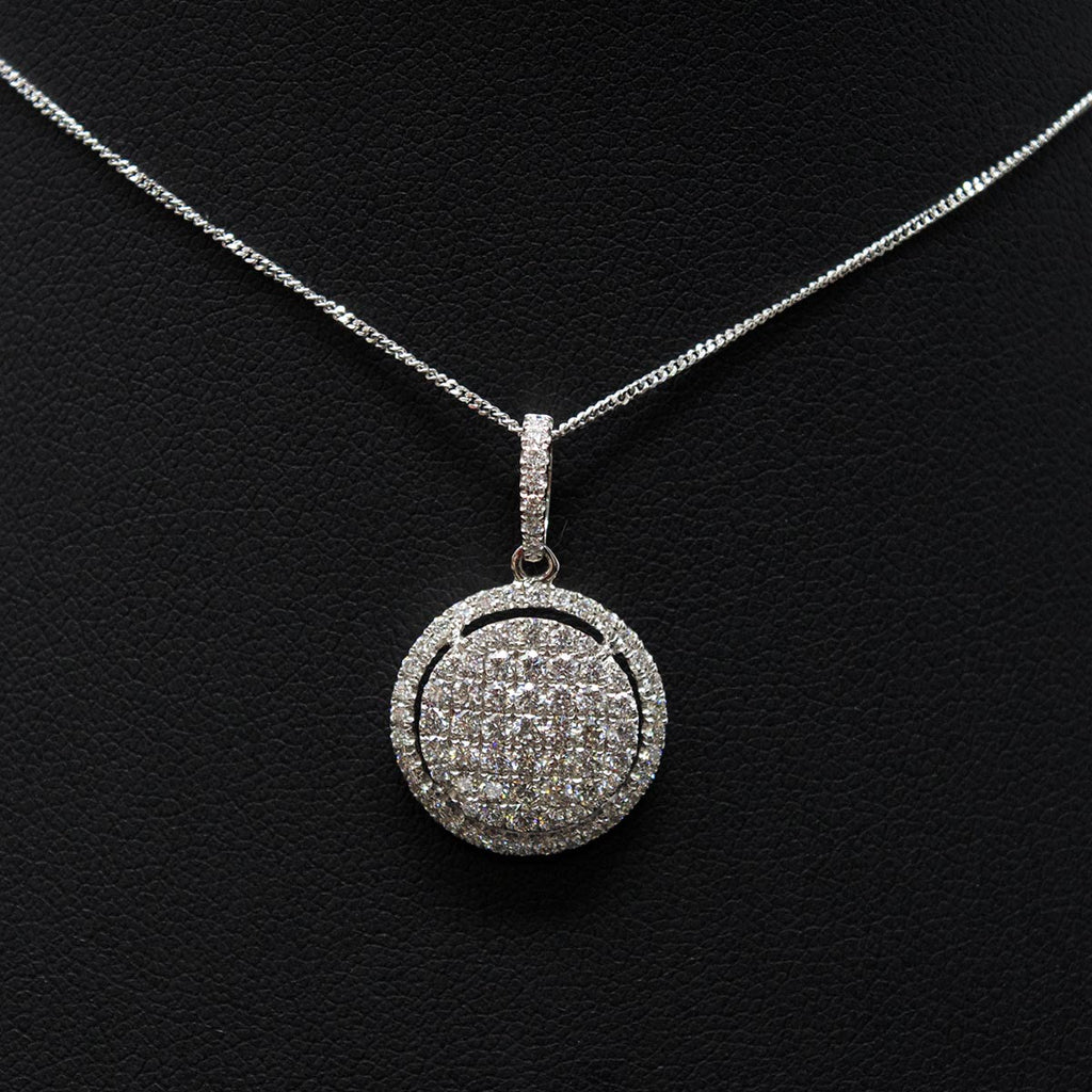 Nouveau Jewellers, Diamond necklace, halo diamond necklace, 18ct white gold