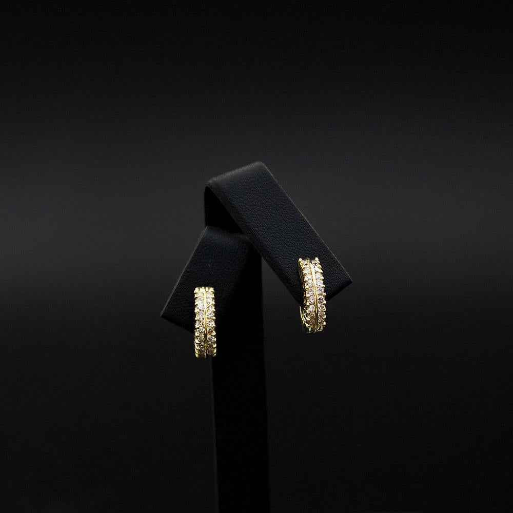 18ct Yellow Gold Diamond Set Hoop Earrings, sold at Nouveau Jewellers in Manchester