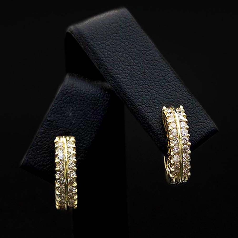 18ct Yellow Gold Diamond Set Hoop Earrings Close Up, sold at Nouveau Jewellers in Manchester