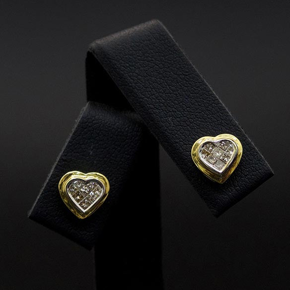 18ct Yellow Gold Princess Cut Diamond Heart Studs close up, sold at Nouveau Jewellers in Manchester
