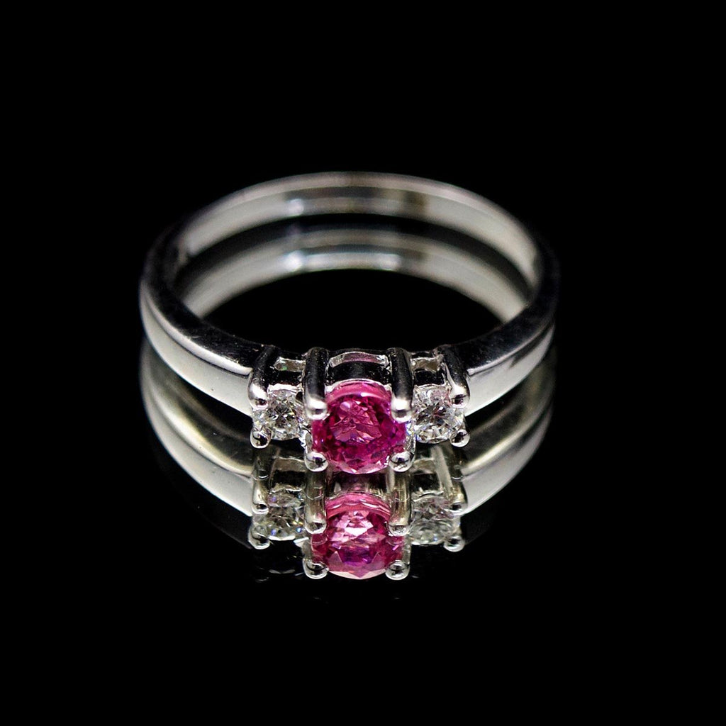18ct White Gold Pink Sapphire & Diamond Engagement Ring, sold at Nouveau Jewellers in Manchester