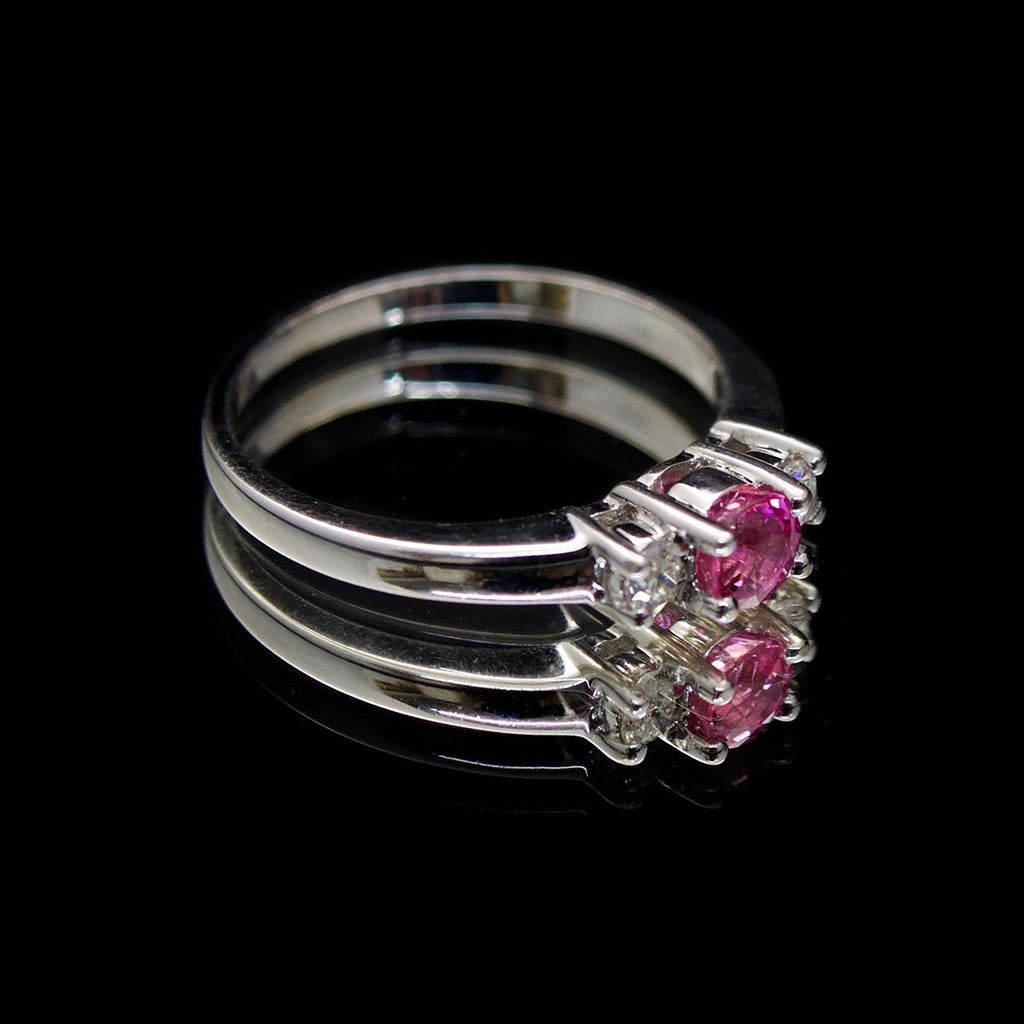 18ct White Gold Pink Sapphire & Diamond Engagement Ring side profile, sold at Nouveau Jewellers in Manchester