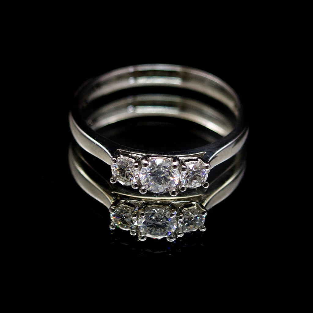 Platinum Trilogy Diamond Engagement Ring, sold at Nouveau Jewellers in Manchester