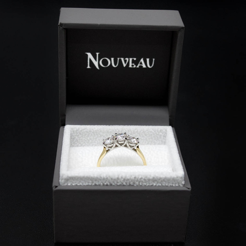 18ct Yellow Gold Trilogy Diamond Engagement Ring in a box, sold at Nouveau Jewellers in Manchester