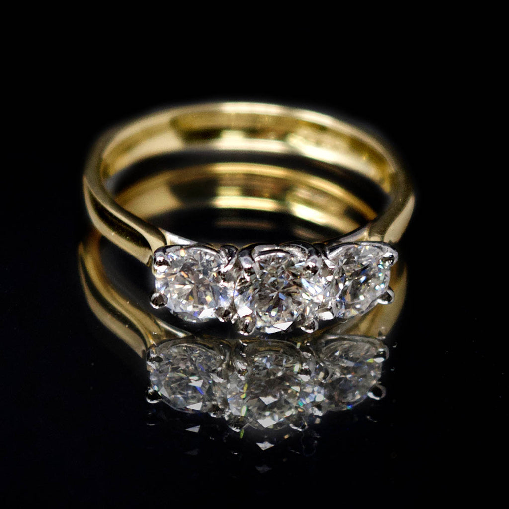18ct Yellow Gold Trilogy Diamond Engagement Ring, sold at Nouveau Jewellers in Manchester