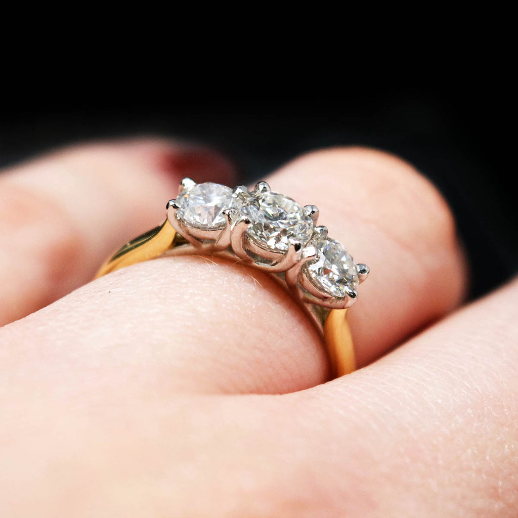 18ct Yellow Gold Trilogy Diamond Engagement Ring on hand, sold at Nouveau Jewellers in Manchester