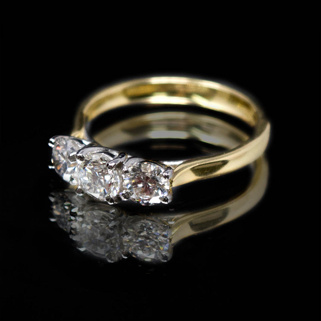 18ct Yellow Gold Trilogy Diamond Engagement Ring side profile, sold at Nouveau Jewellers in Manchester