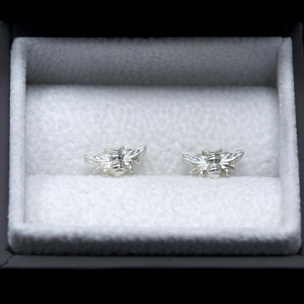 Silver Manchester Bee Studs in box, Beehive Collection exclusively sold at Nouveau Jewellers in Manchester