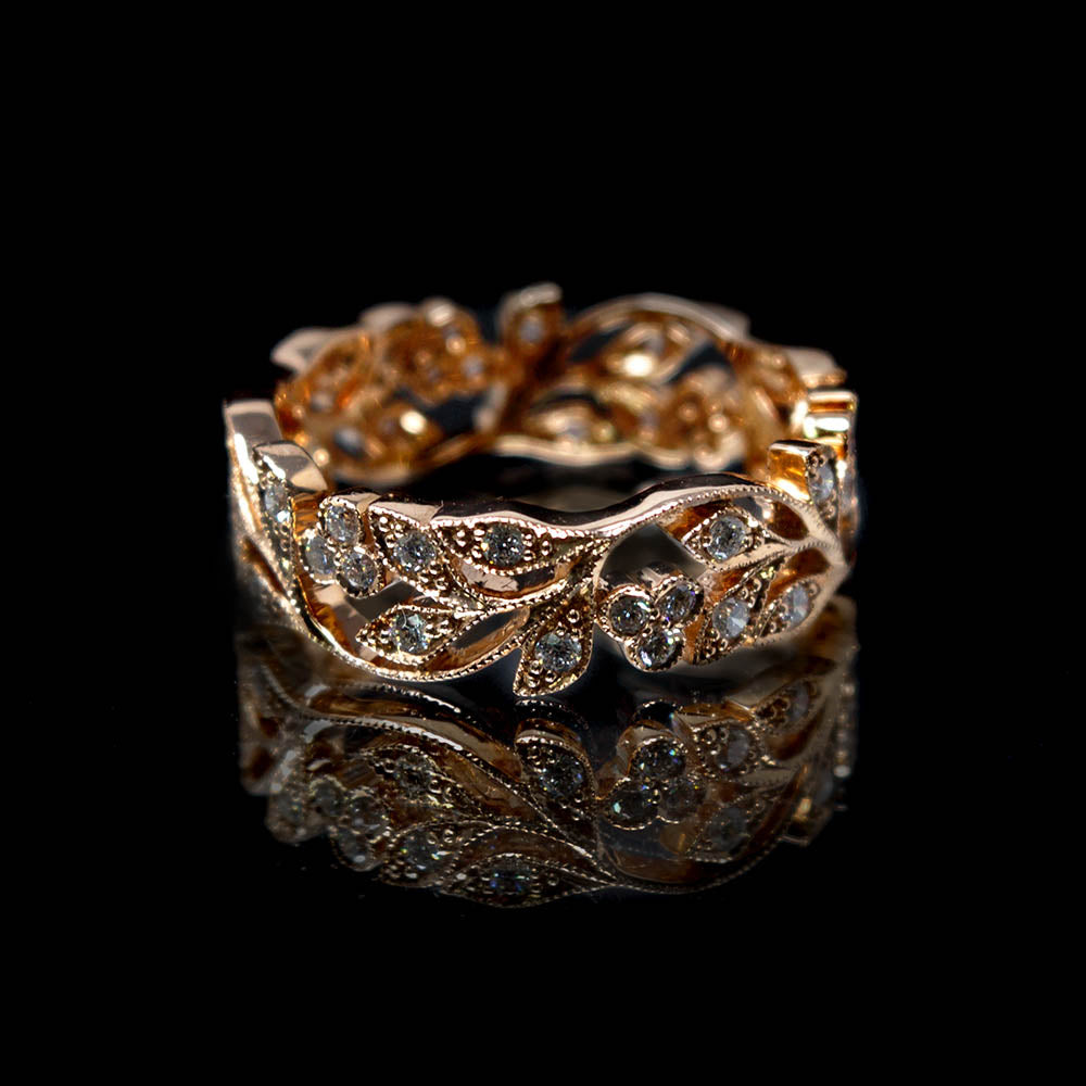 Nouveau Jewellers, Diamond Embellished Leaf Ring designed by Luke Stockley, Manchester Jeweller