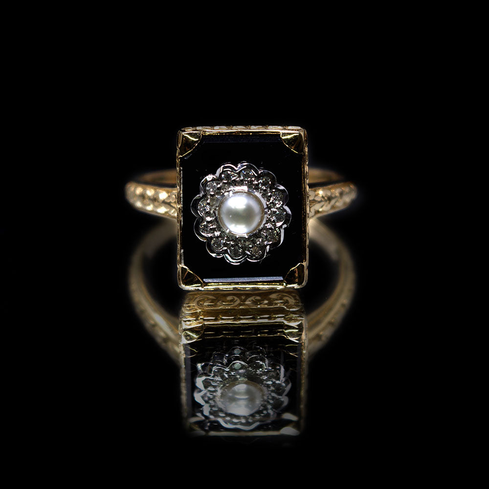 Nouveau Jewellers, Onyx Diamond & Pearl Art Deco Ring by Luke Stockley, Manchester Jewellers