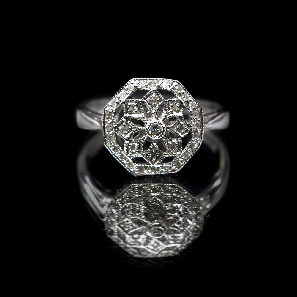 Nouveau Jewellers, Romantic Diamond Art Deco Ring designed by Luke Stockley, Manchester Jeweller