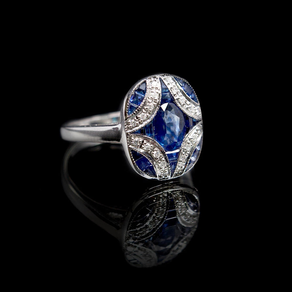 Nouveau Jewellers, Sapphire & Diamond Art Deco Ring designed by Luke Stockley, Manchester Jeweller
