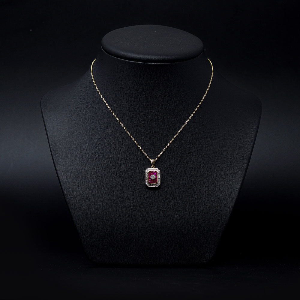 Nouveau Jewellers, Diamond & ruby art deco pendant necklace designed by Luke Stockley, Manchester Jeweller