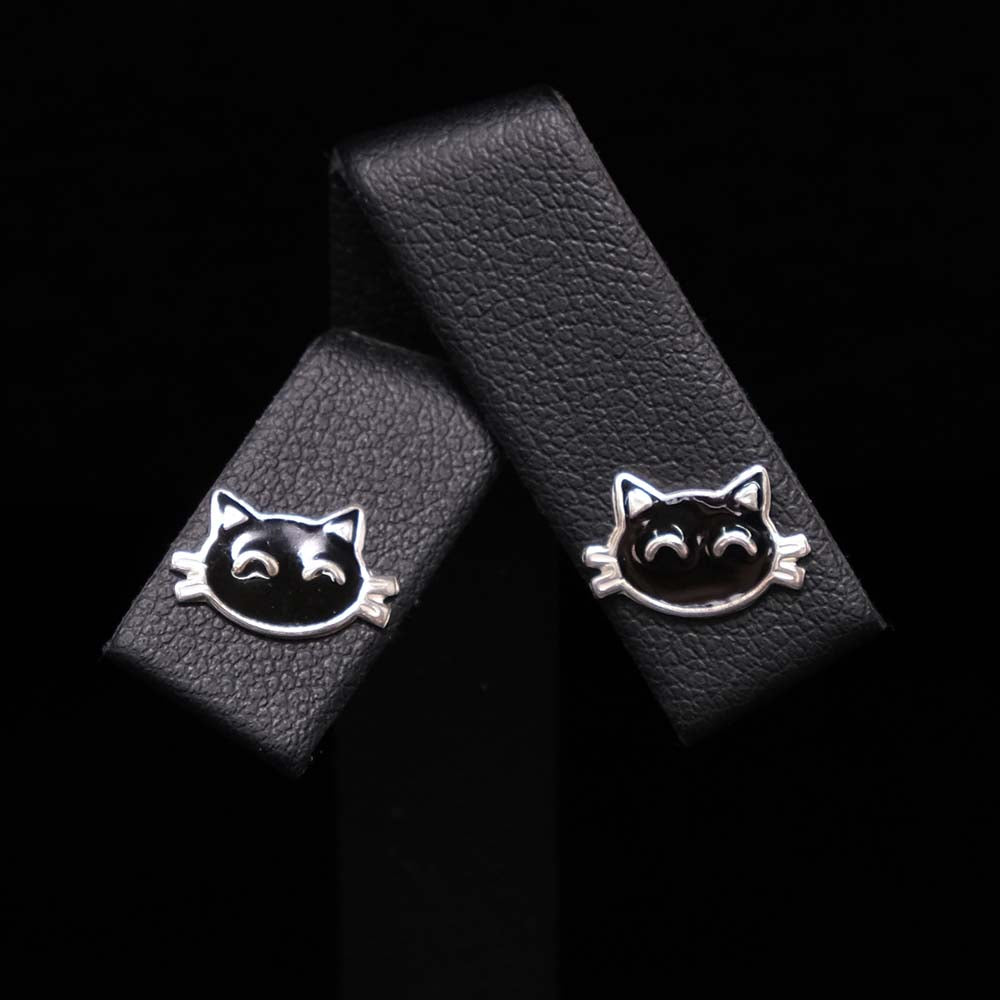 925 Silver Black Cat Silver Stud Earrings Close Up, sold at Nouveau Jewellers in Manchester