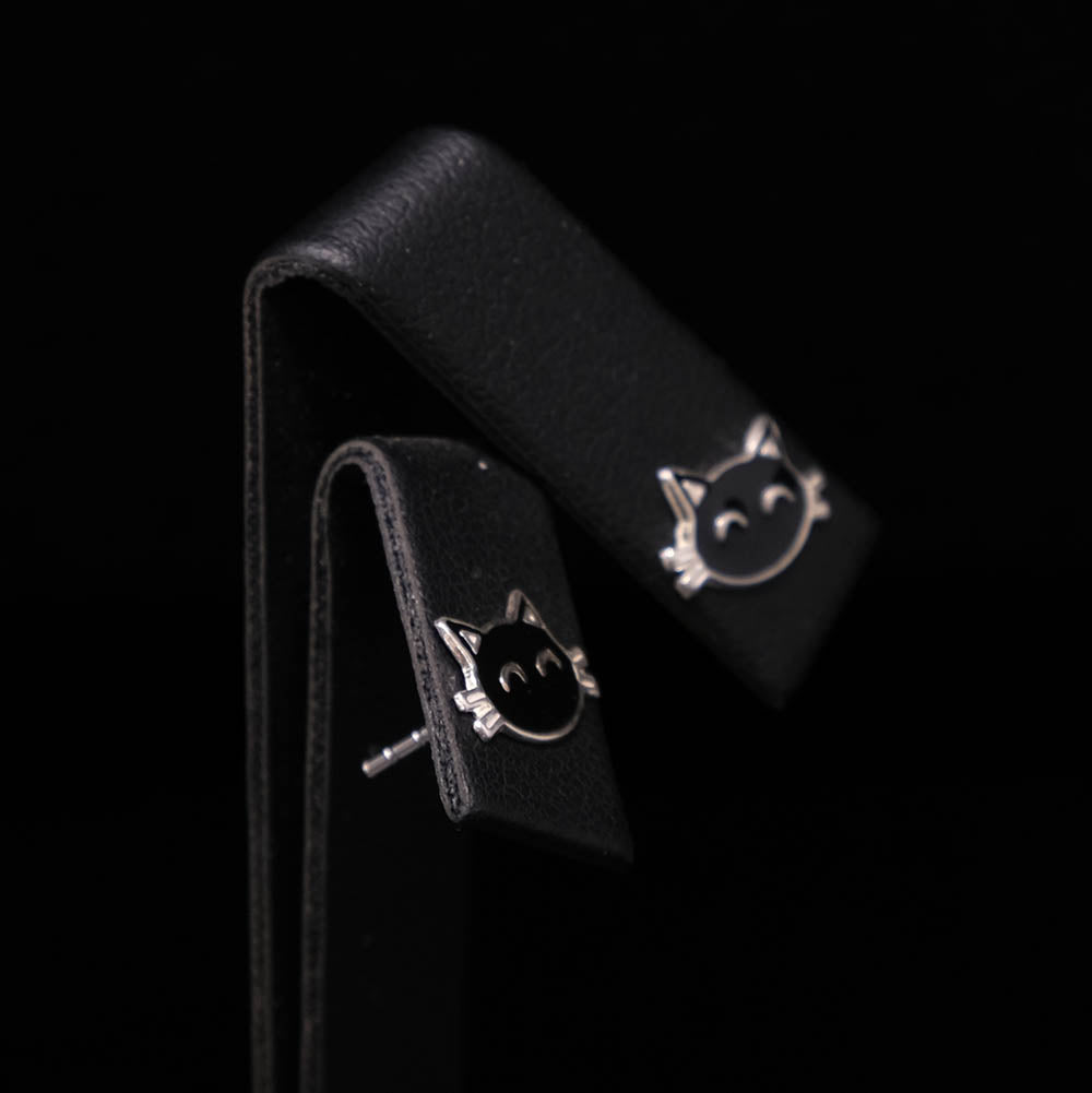 925 Silver Black Cat Silver Stud Earrings side profile, sold at Nouveau Jewellers in Manchester