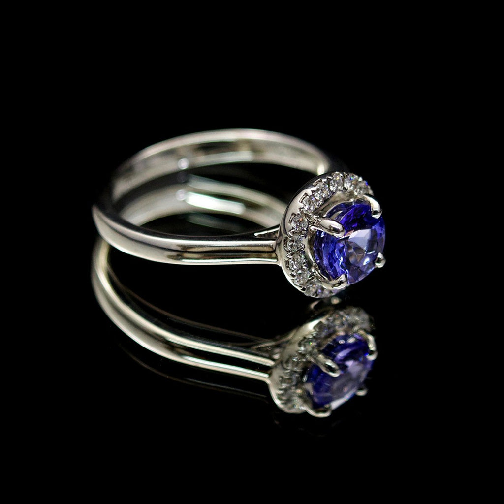 18ct White Gold, Tanzanite & Diamond Halo Ring - Nouveau Jewellers