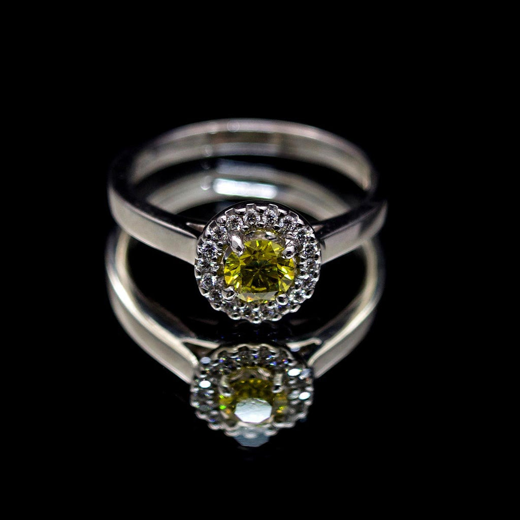 18ct White Gold, Yellow Diamond Ring - Nouveau Jewellers