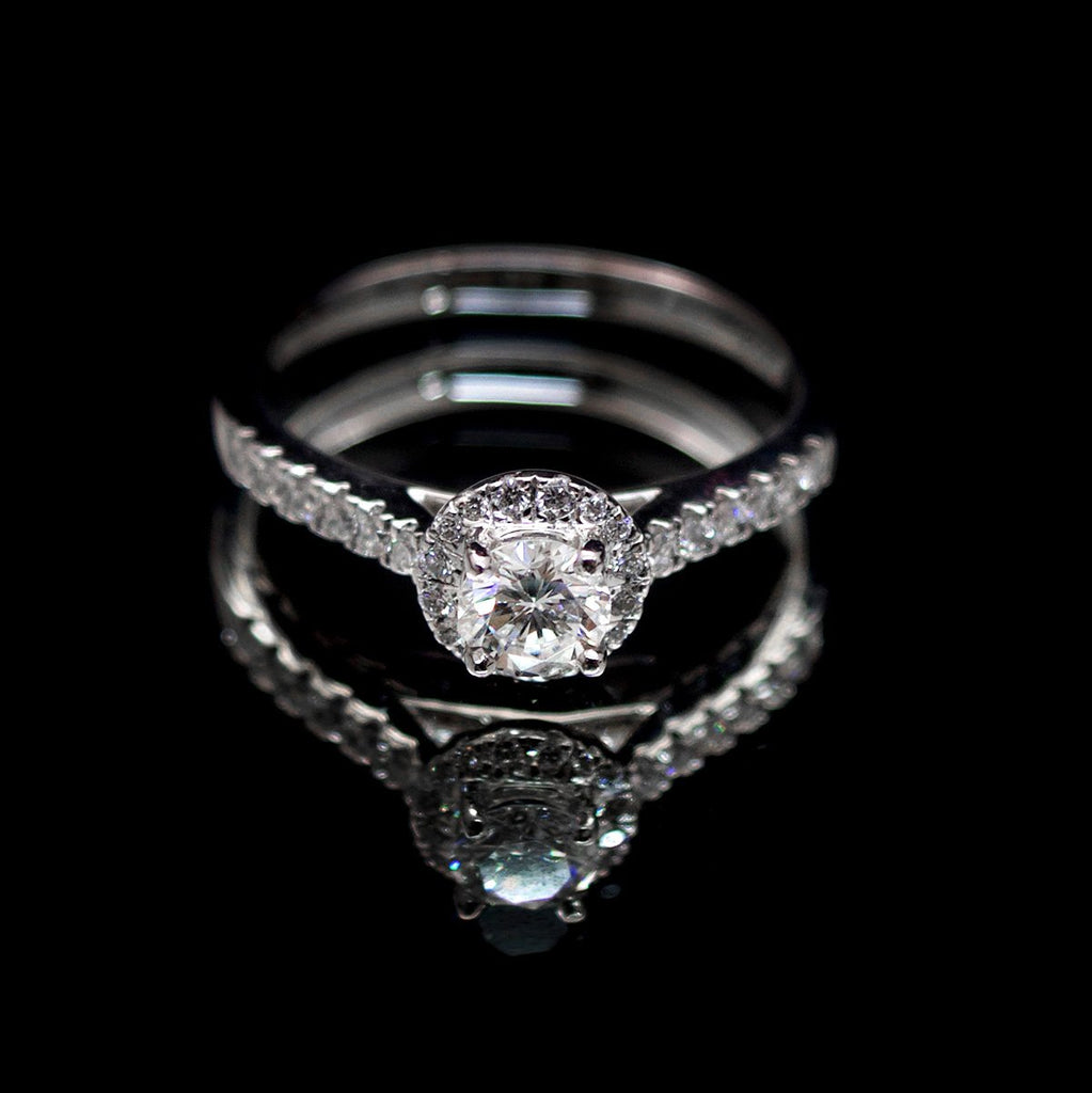 Platinum Halo Diamond Engagement Ring, sold at Nouveau Jewellers Manchester