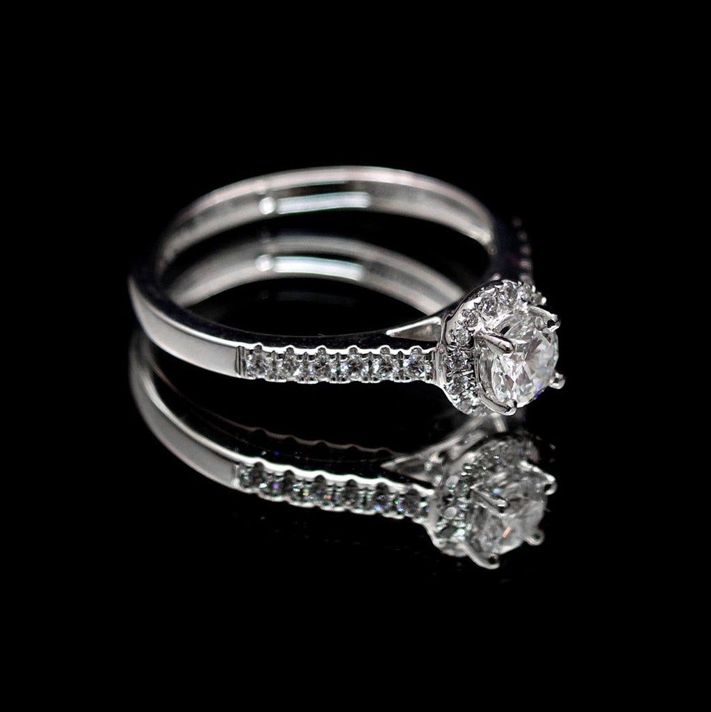 Platinum Halo Diamond Engagement Ring side profile, sold at Nouveau Jewellers Manchester