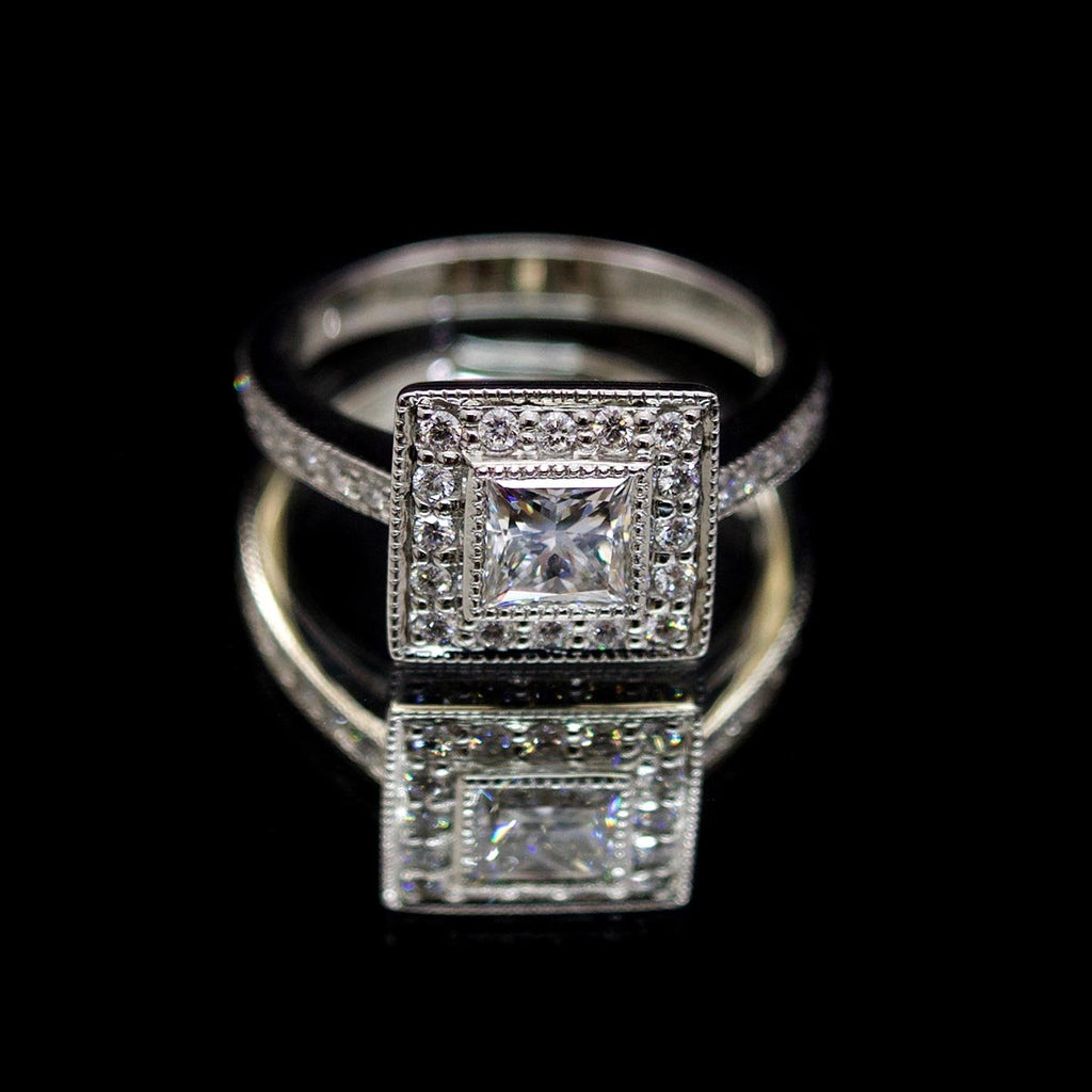 Princess Cut Square Halo Diamond Engagement Ring, sold at Nouveau Jewellers in Manchester