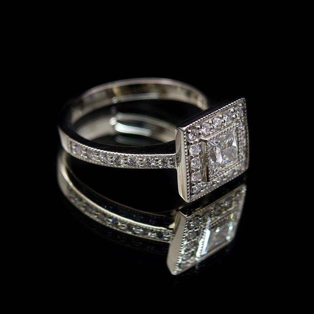 Princess Cut Square Halo Diamond Engagement Ring side profile, sold at Nouveau Jewellers in Manchester