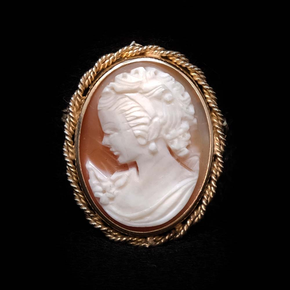 Gold Cameo Broach Pendant Necklace close up, sold at Nouveau Jewellers Manchester