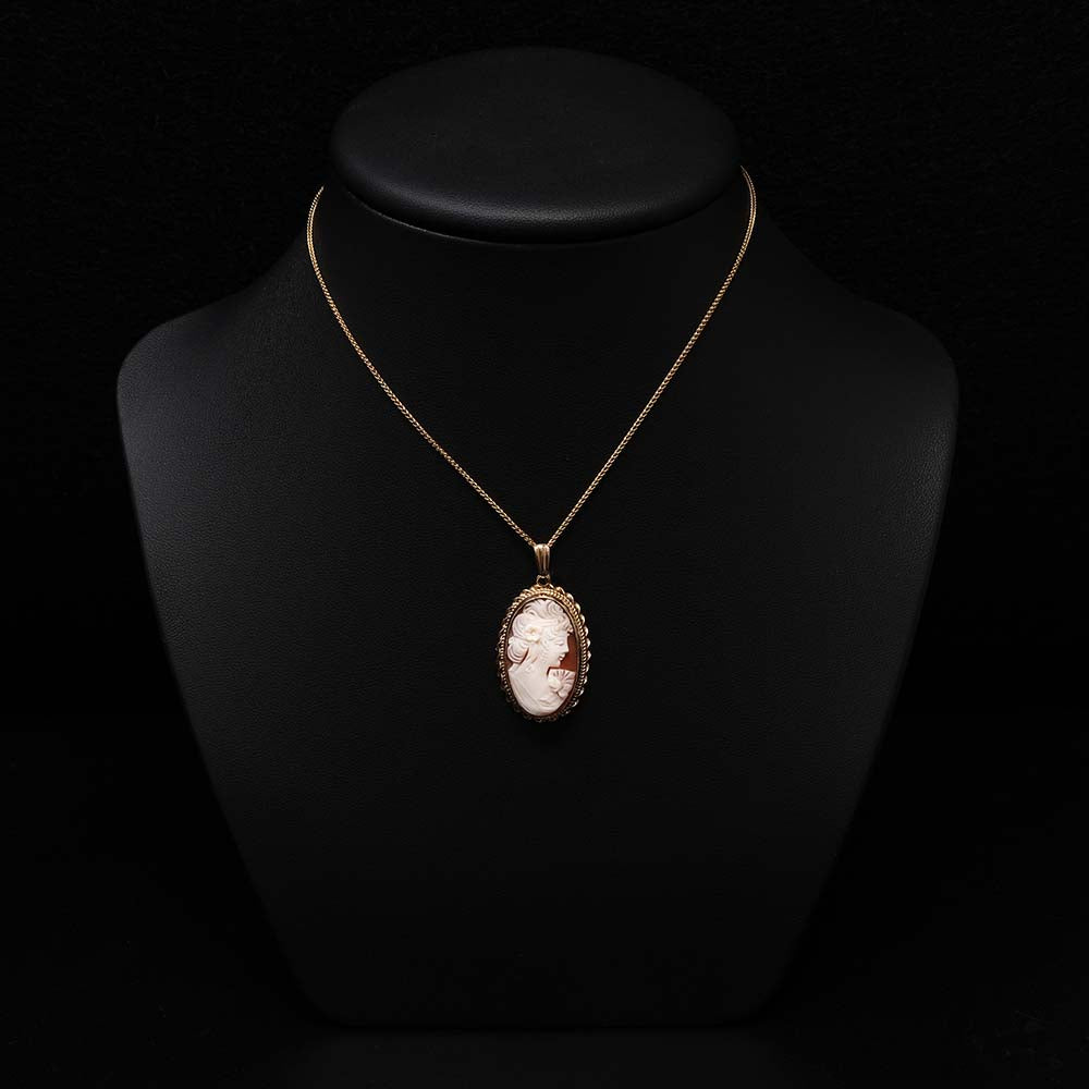 9ct Gold Cameo Pendant Necklace on a bust, sold at Nouveau Jewellers in Manchester
