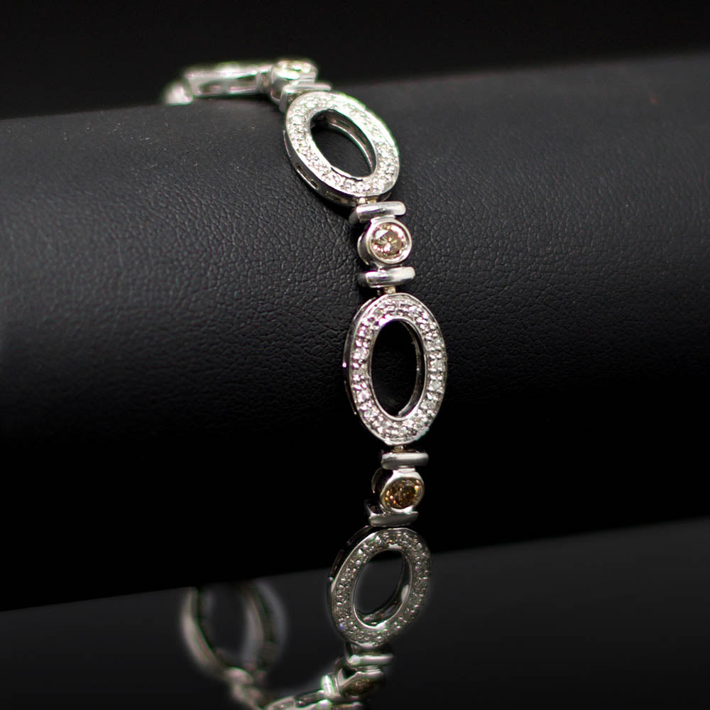 Nouveau Jewellers, Oval White Gold Diamond Bracelet, Manchester Jewellers