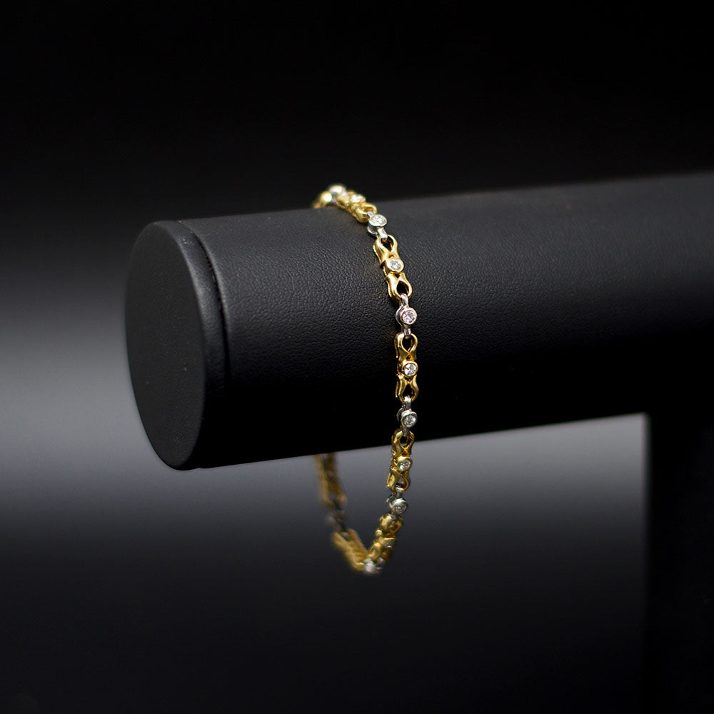 Nouveau Jewellers, Yellow & White Gold Diamond Bracelet, Manchester Jewellers