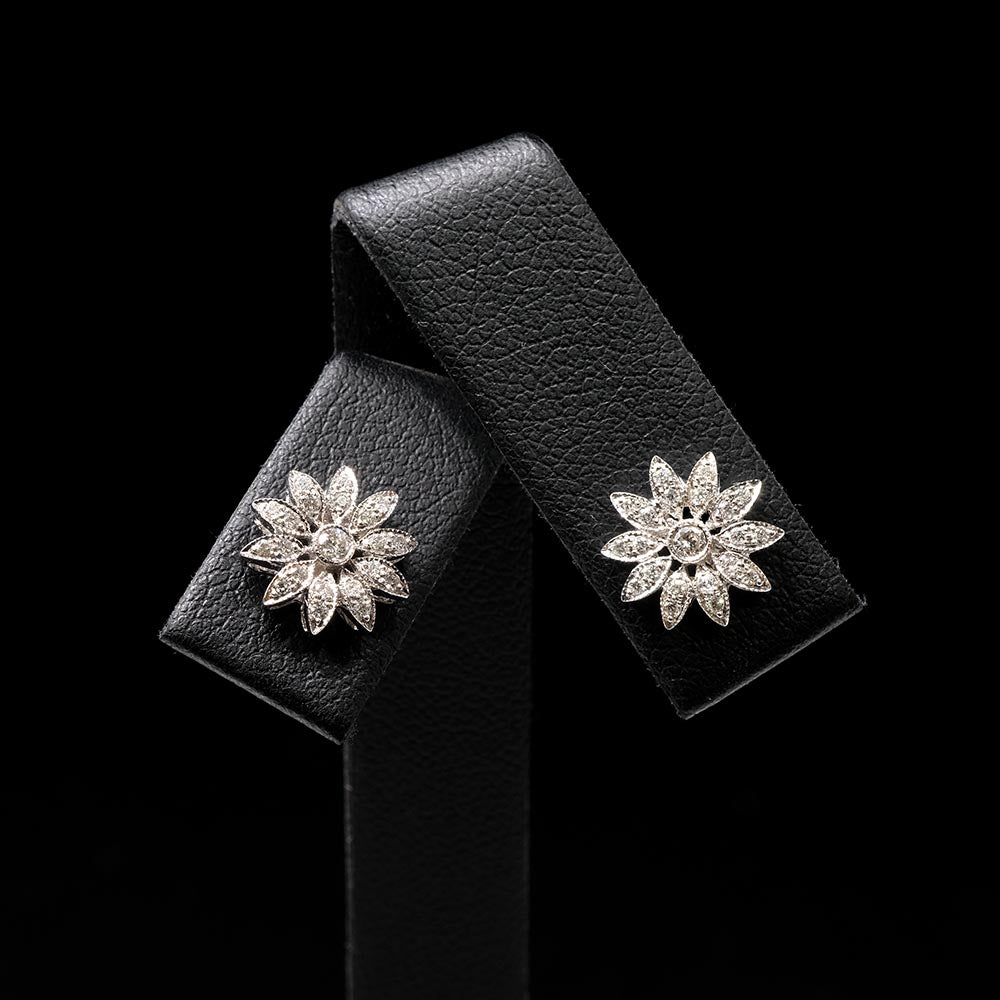 18ct White Gold Diamond Flower Art Deco Earrings, sold at Nouveau Jewellers in Manchester