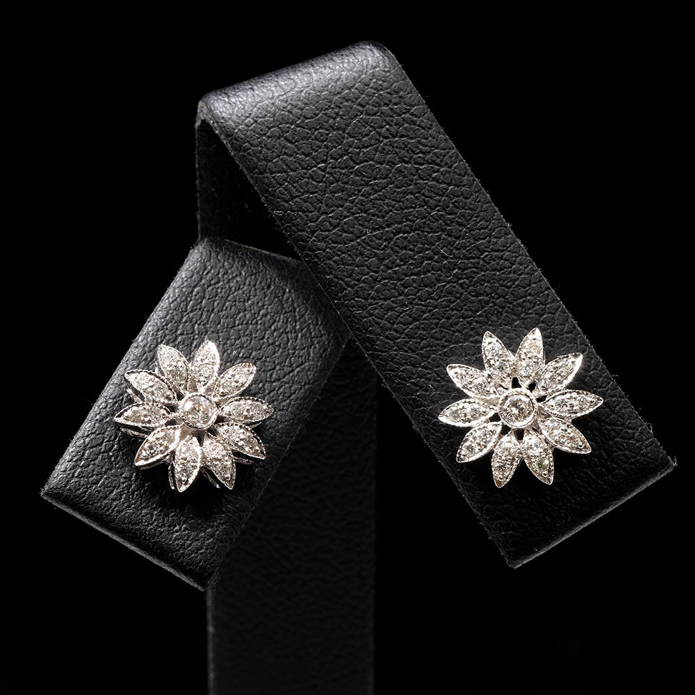 18ct White Gold Diamond Flower Art Deco Earrings Close Up, sold at Nouveau Jewellers in Manchester