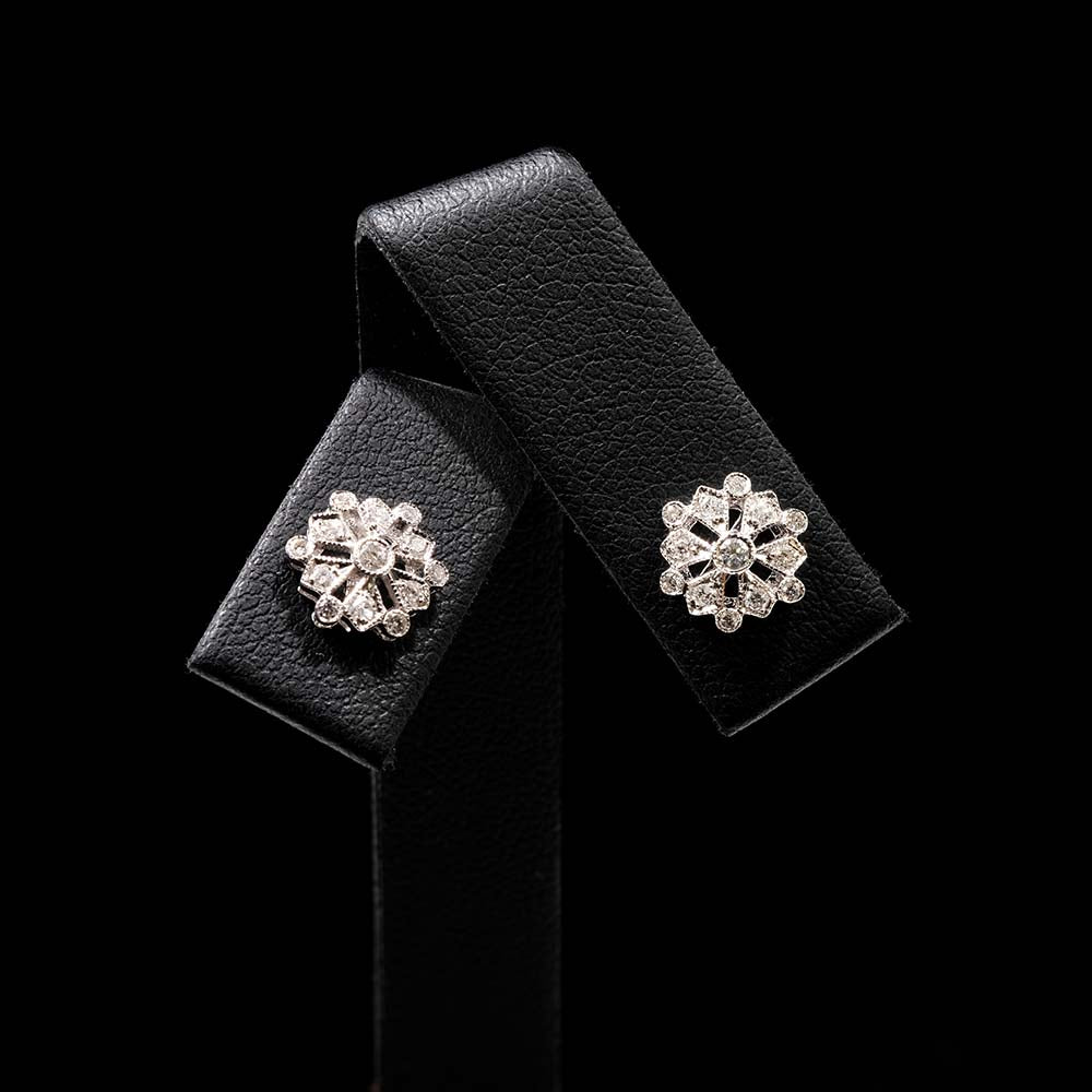 18ct White Gold Diamond Snowflake Art Deco Earrings, sold at Nouveau Jewellers in Manchester