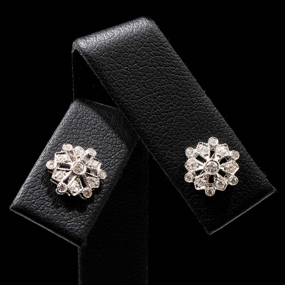 18ct White Gold Diamond Snowflake Art Deco Earrings Close Up, sold at Nouveau Jewellers in Manchester