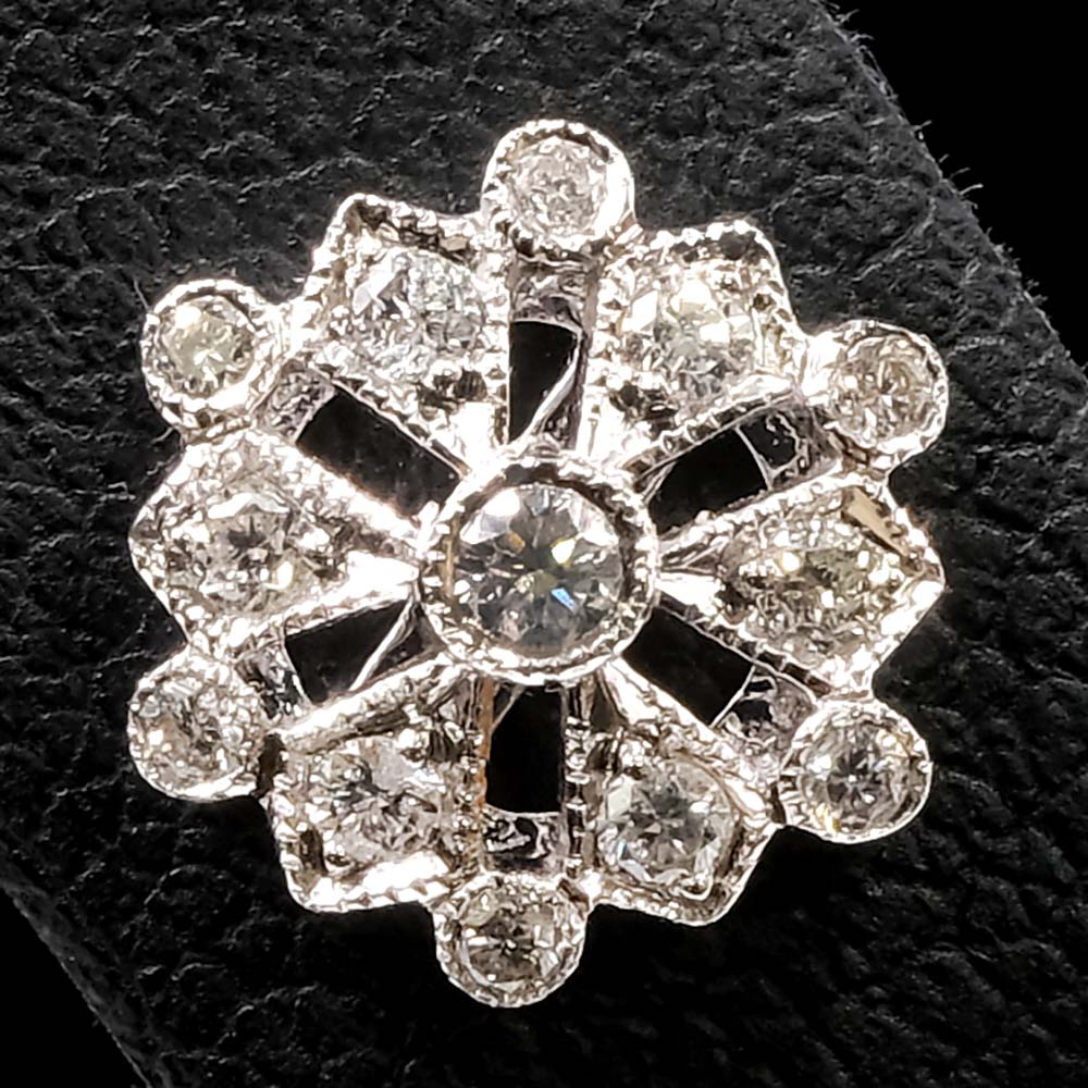 18ct White Gold Diamond Snowflake Art Deco Earrings Close Up of one, sold at Nouveau Jewellers in Manchester