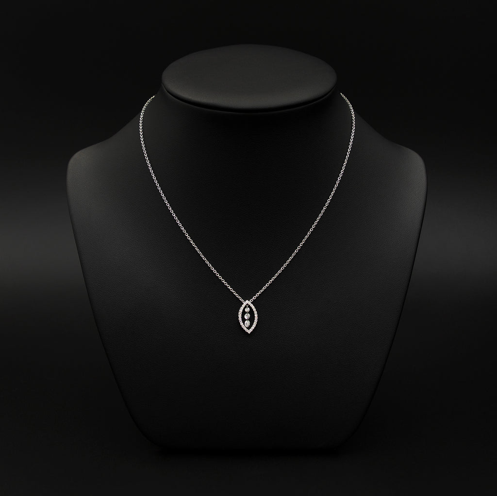 Nouveau Jewellers, 3 Diamond Oval Halo Pendant Necklace, diamond necklaces, Manchester Jewellers