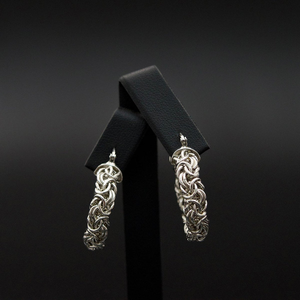 Silver Byzantine Hoop Earrings close up, sold at Nouveau Jewellers in Manchester