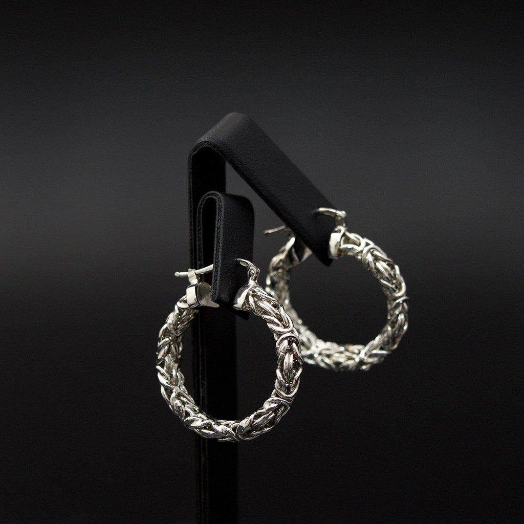 Silver Byzantine Hoop Earrings side profile, sold at Nouveau Jewellers in Manchester
