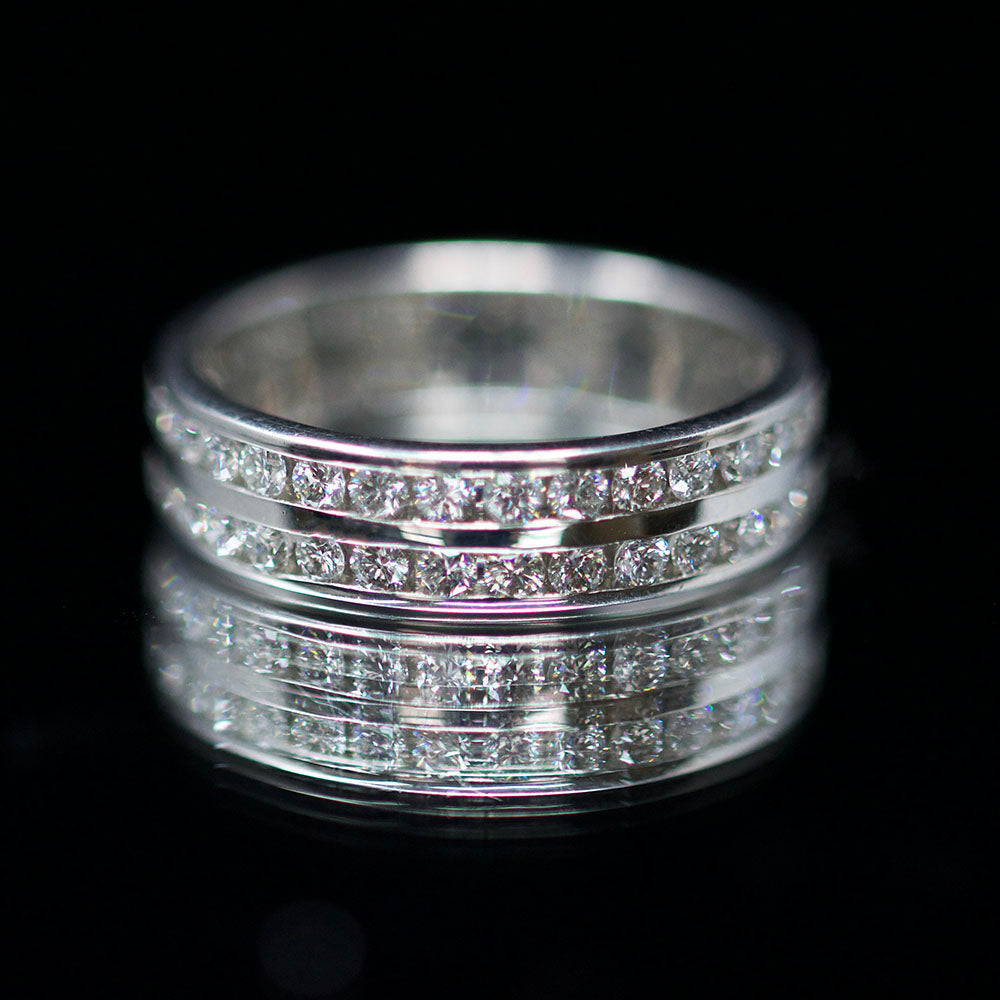 Eternity rings, nouveau jewellers, manchester jewellers, Double band diamond ring, diamond wedding ring, promise ring