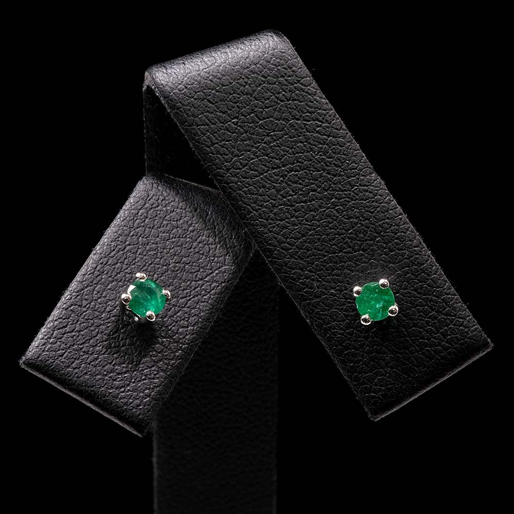 White Gold Minimal Emerald Stud Earrings, sold at Nouveau Jewellers in Manchester