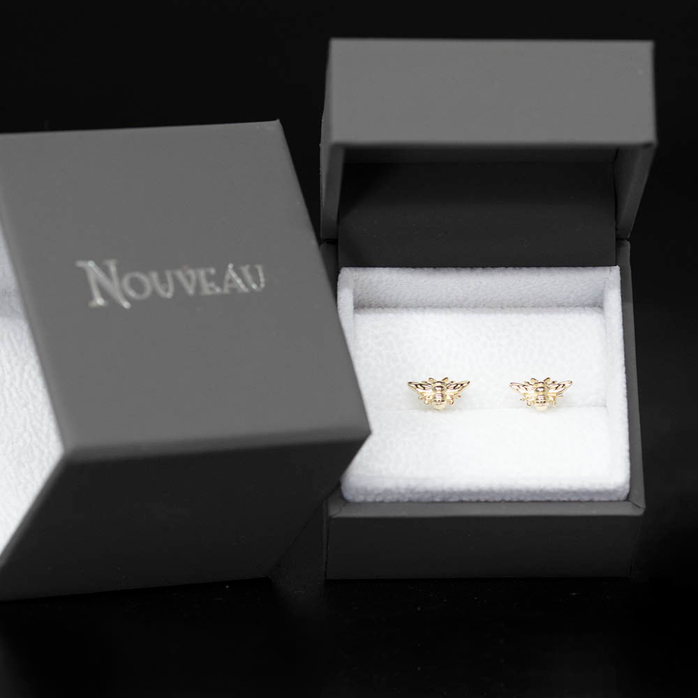 9ct Yellow Gold Manchester Bee Studs in a box, sold at Nouveau Jewellers in Manchester
