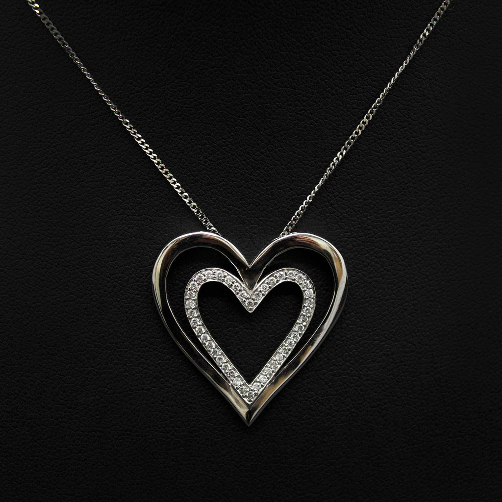 Nouveau Jewellers, 18ct White Gold Double Heart Diamond Pendant, Diamond Necklaces, heart white gold necklaces